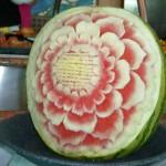 170 Restaurangen Naturligtvis fanns vackert karvade meloner etc i buffématsalen.