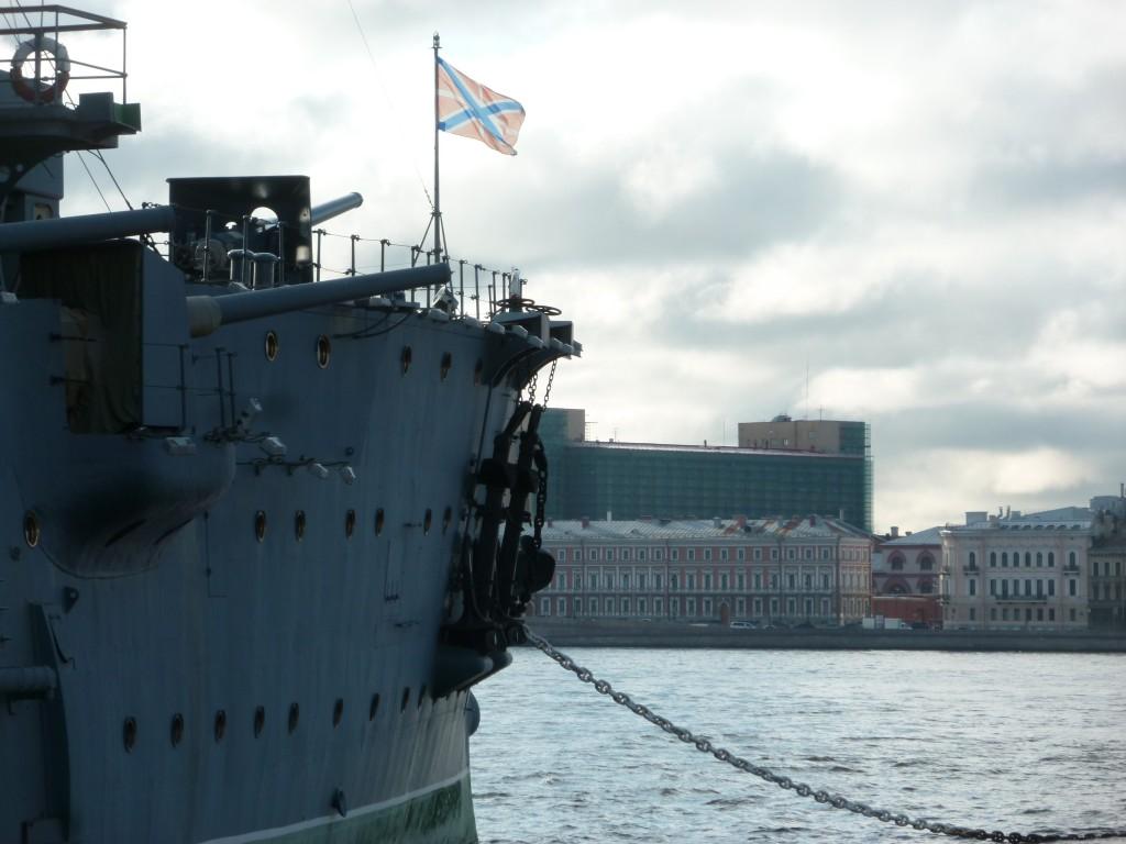 306 Kryssaren Aurora. Härifrån avlossades det skott som startade  revolutionen och stormningen av Vinterpalatset.