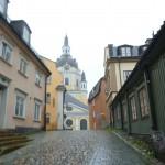 I Stockholm var det regn. Här Sofia Kyrka på söder.